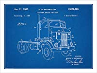 "1950Peterbuilt Cab OverディーゼルSemi Truck特許印刷アートポスター額なし青写真18"" x 24"""