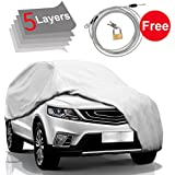 "KAKIT Car Cover SUV Cover - 5 Layers Windproof Waterproof for Indoor Outdoor, All Weather Covers for Car, Windproof Ribbon & Anti-theft Lock, Fits 181""-202"" SUV"