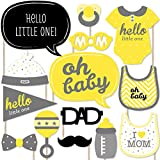 Hello Little One - Yellow and Grey - Neutral Baby Shower Photo Booth Props Kit - 20 Count