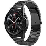 Simpeak Band Compatible with Gear S3 Frontier/ S3 Classic, 22mm Premium Stainless Steel Bracelet Strap Replacement for Galaxy Watch 46mm Sports Smart Watch Fitness, Metal Black