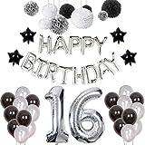 Puchod 16歳の誕生日デコレーション パーティー装飾セット ラテックスバルーン 男の子 女の子用 シルバー 43457-54778