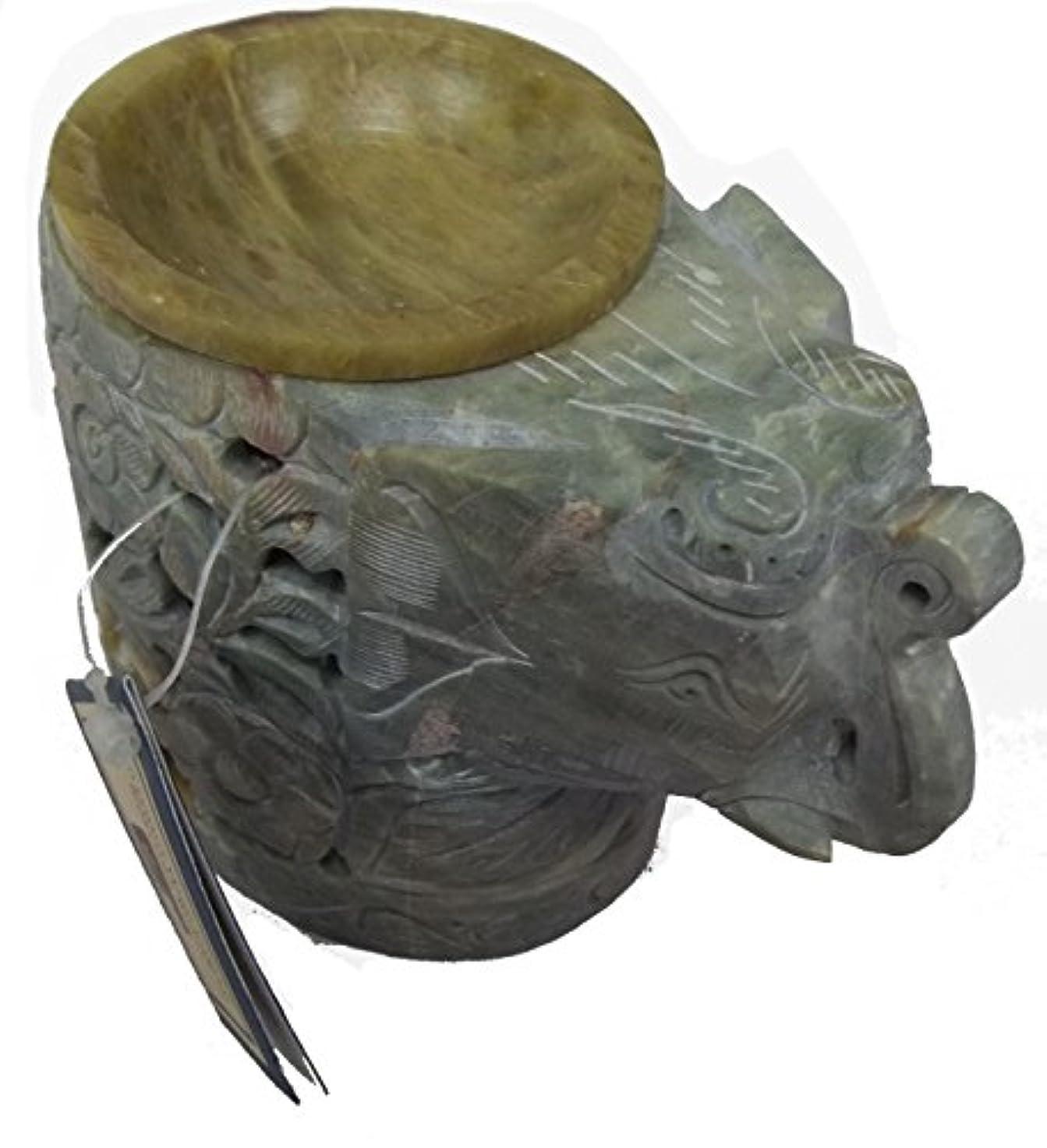 豊かにする盟主アルプス手彫り象ソープストーンお香オイルティーライトホルダーCandle Burner