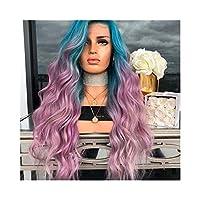 Mocici コスプレ パーティーの使用のための女性の青のグラデーション紫の長い髪マイクロ ボリューム ストレート髪かつら (色 : Photo Color)