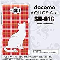 SH01G スマホケース AQUOS ZETA SH-01G カバー アクオスゼータ 猫 チェック赤B nk-sh01g-952