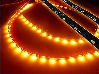 サブウィンカーに!!12v/光が流れる!流星LEDテープライト/60cm・2本セット/30SMD/アンバー・オレンジ系黄色 側面発光 黒ベース シーケンシャル
