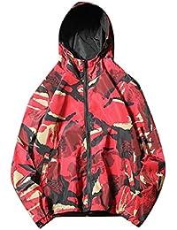 Sodossny-JP メンズウインドブレーカージャケット軽量フードコートカモアウトウェア