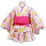 ガールズキッズ浴衣|甚平[なつまつり]花(桜|梅)柄レース付帯付き浴衣ドレス|女の子|女児|子供用|セパレートゆかた 100cm ピンク
