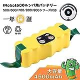 ルンバ 14.4v互換バッテリーirobotバッテリー 4500mah 大容量 ルンバ500 600 700 800シリーズ iRobot Roomba ニッケル水素電池 1年保証..