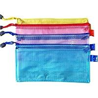 Ruikey ファイルバッグ ファイルケース ファイルホルダー ジッパー ファスナー式 グリッド 撥水 カラーランダム PVC製 10冊入 B6判 15*19cm