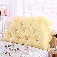 単色 ヘッドボード, 枕 ダブル 長い角 畳 ソフトパック ベッド 腰枕 綿-黄 W125xH70cm(49x28inch)