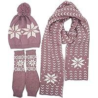 Lovful Women Scarf & Glove Set, Knitted Snowflake Detail & Matching Cap