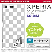 SO04J スマホケース Xperia XZ Premium ケース エクスペリア XZ プレミアム イニシャル スクエア 白×グレー nk-so04j-134ini W