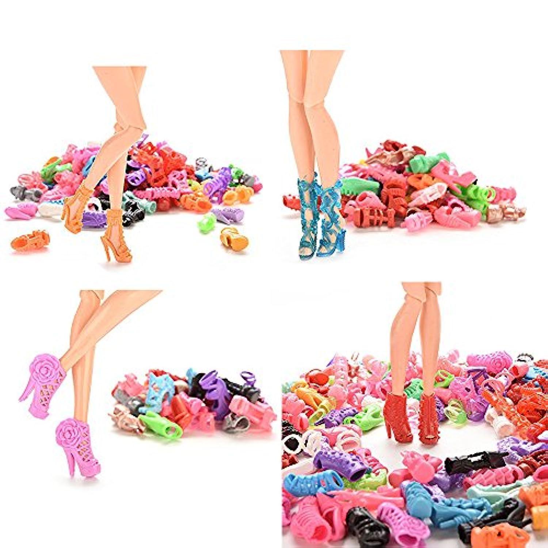 ドール バービー 人形靴 バービー用ハイヒール ランダム 15ペア 山盛り靴 1/6バービー(約29cm)専用