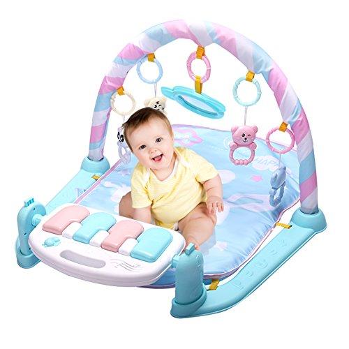 ベビージム 赤ちゃん おもちゃ プレイマット ピアノ 知育玩具 屋内遊具 (ブルー)