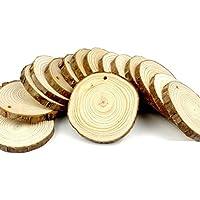 inverlee 50個Aパック5 – 6 cm Unfinished WoodあけスライスラウンドログDiscs with 393フィートジュートTwine、クリスマスHoem Festival Hangingペンダント 8-9cm