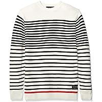 Scotch & Soda Mens 148827 Striped Cotton Blend Pullover Pullover Sweater - Multi