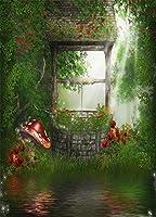 GooEoo 5x7FT背景夢のような写真の背景faiytale森林古代井戸水草木きのこWonderfullandシーン写真背景子供赤ちゃんプリンセス女の子パーティースタジオ小道具