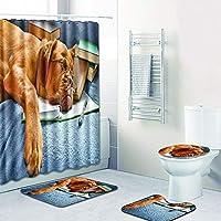 シャワーカーテン 浴室用カーペット 便座クッション シャワーマット コンビネーション4ピース 洗濯機で洗えます,G,180CM+45*75CM