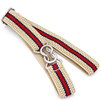 Apparel Accessories Candy-Colored 8-Character Clasp Elastic Braided Belt for Children(Red) Apparel Accessories (Color : Beige Red Stripe)