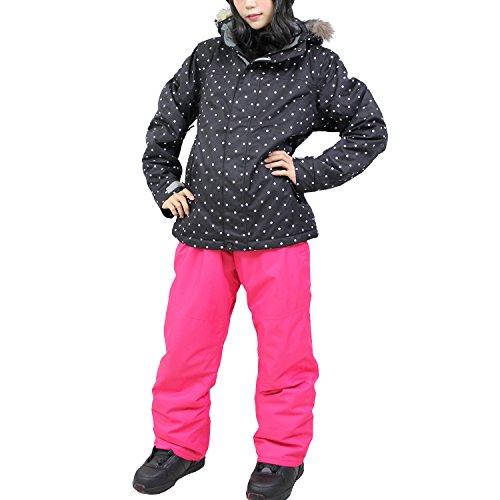 [해외]VAXPOT (백 냄비) 스키웨어 여성 상하 세트 VA-2019 DT-BLK | PNK WS (여성용 S)/VAXPOT (back spot) Ski wear Women`s upper and lower set VA-2019 DT-BLK | PNK WS (for women S)