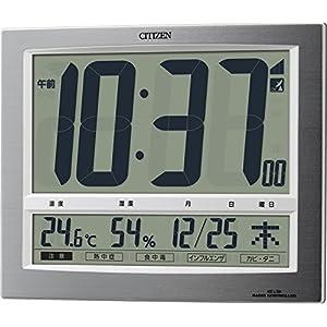シチズン 電波 置き ・ 掛け時計 デジタル パルデジットワイド140 大型 表示 温度 湿度 カレンダー 銀色 CITIZEN 8RZ140-019