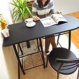 HIGHTYPE(天板高さ80cm)カウンターオフィステーブル3点セット  BLACK 110cm幅 チェア2脚付き
