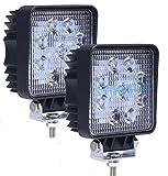 (スタンセン) Stansen LEDワークライト LEDライトバー オフロード 防水作業灯 CREE製27W 9連10-30VDC対応(12V/24V兼用)広角 2個セット [並行輸入品]