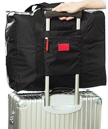 POSITIVE 超便利♪ 手のひらサイズに収納できる 携帯用 ボストンバッグ 旅行バッグ スーツケース の持ち手に通せる 旅行 や 出張 に最適な バッグ 保証書付き (ブラック)