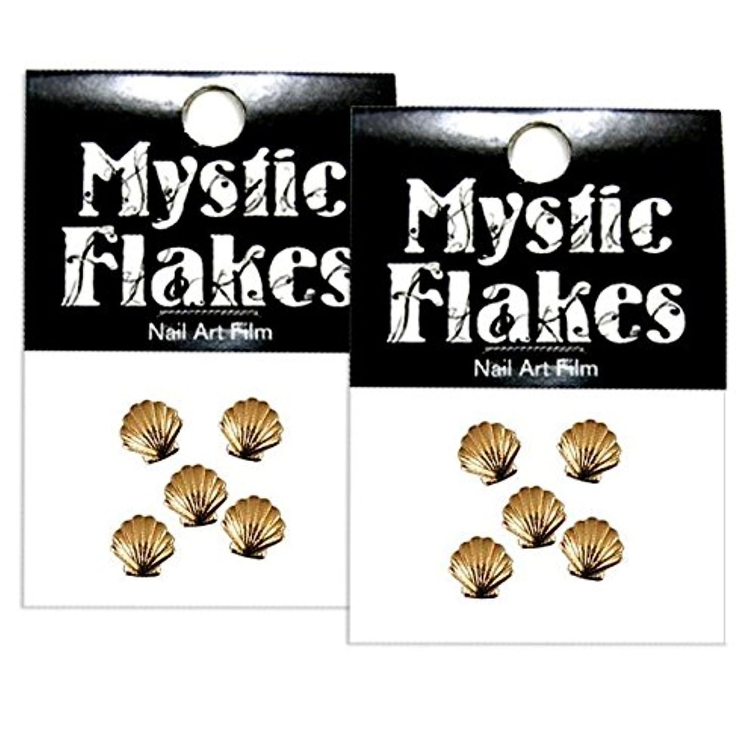 蓮祭り小説ミスティックフレース ネイル用ストーン メタルシェル ゴールド 5mm /5P 2個セット