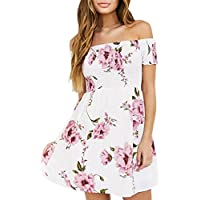 Misaky women dress Women's Off Shoulder Floral Beach Evening Short Mini Dress