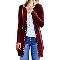 Helisopus Women's Long Sleeve Snap Button Down Knit Casual Cardigans