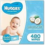 Huggies Coconut Baby Wipes Bundle Pack (Pack of 480), 480 Wipes (6 x 80 Pack)