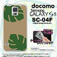 SC04F カバー GALAXY S5 SC-04F ケース ギャラクシー S5 ソフトケース モンステラ ベージュ×緑 nk-sc04f-tp454