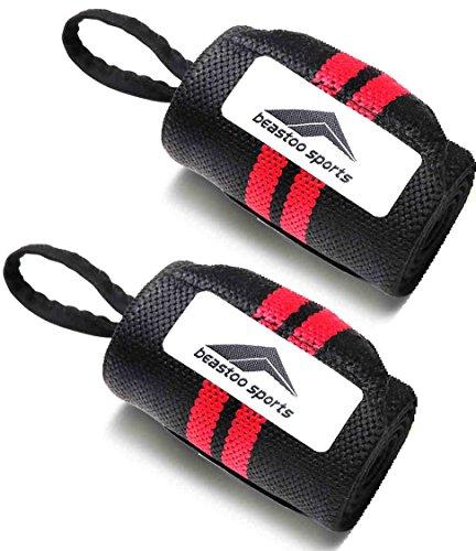 beastoo sports リストラップ 手首サポーター リストストラップ トレーニング 筋トレ 2枚セット (赤色(Red))