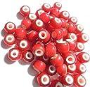 ビーズ ゴロクロ メンズ ネックレス / ブレスレット 製作 【 ホワイトハーツ ビーズ小 赤 20粒 】 カスタム パーツ アクセサリー 素材 <レッド> サイズ/カラー選択可 ビーズネックレス