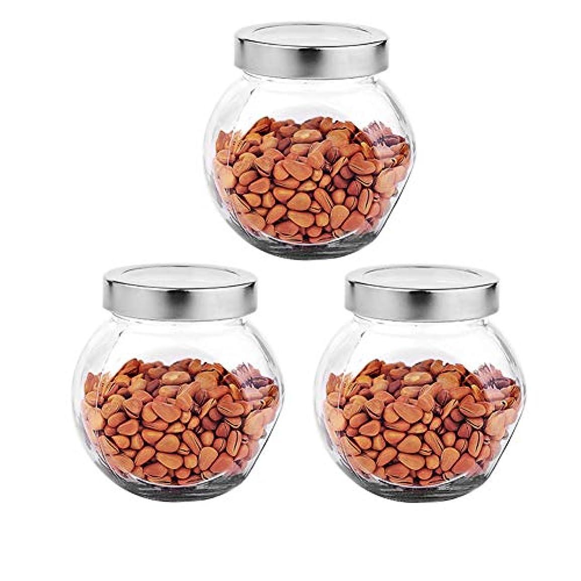 外観ブレーキマウントバンク3つの透明ガラス貯蔵容器茶/季節密封缶の貯蔵ジャーパック(450 ml)