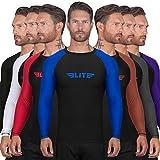 Elite Sports BJJ Jiu Jitsu Rash Guards, Men's BJJ, No GI, MMA Ranked Full Sleeve Compression Shirt Base Layer Athletic Rash G