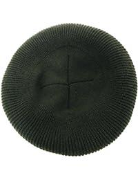ハッピーハット ニットベレー帽 無地シンプル リブ編みニット カーキ knit-1586-04