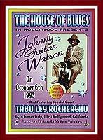 ポスター デニス ローレン ジョニーギターワトソン、ハウス・オブ・ブルース、ハリウッド 1995 額装品 ウッドベーシックフレーム(レッド)