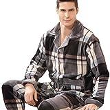 快売メンズ冬用厚手フランネルパジャマ長袖上下セット前開きルームウェア (L, カラー3)