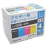 【Luna Life】 ブラザー用 互換インクカートリッジ LC09-4PK 4本パック LN BR9/4P