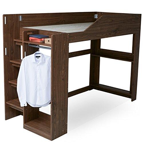 LOWYA(ロウヤ) ベッド ロフトベッド システムベッド すのこ ハンガーラック 洋服 収納 木製ロフト 階段付き 子供部屋 シングルベッド ベッドフレーム 一人暮らし ウォルナット