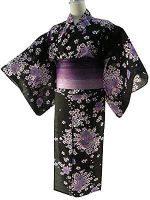 女性用 浴衣 2点セット お仕立て上がりゆかたブラック ラメ帯パープル 【SFS-09】
