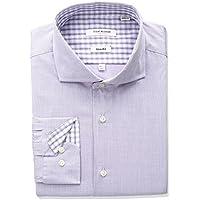 Isaac Mizrahi Mens 71352 Slim Fit Micro Check Cut Away Collar Dress Shirt Dress Shirt