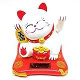 (PLUS COMFORT) 招き猫 ソーラー 自動 動く 金運 財運 (白)