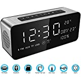 """Soundance Alarm Clock FM Radio Bluetooth Speaker with HD Sound 9.4"""" LED Digital Display of Time Date Temperature, iPhone Android Aux MicroSD TF USB Support, Wireless for Office Bedroom Home A10 Sliver"""