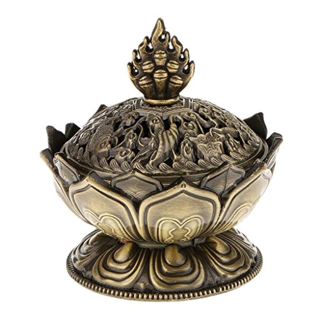 エクステントそこから手伝う蓮型香炉 丸香炉 線香 アロマ 渦巻き線香(青銅)