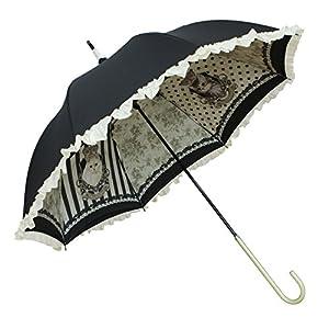 ルミエーブル ル プティシャトン 長傘 手開き 日傘/晴雨兼用 ブラック 8本骨 55cm UVカット グラスファイバー骨 0102-15007-c04