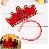 HuaQingPiJu-JP プリンスクラウンケーキLEDグローフープドレス帽子誕生日パーティー用品(赤、誕生日おめでとう)