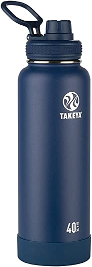 Takeya Actives Insulated Stainless Water Bottle with Insulated Spout Lid, 40oz, Midnight
